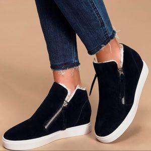 Steve Madden Caliber Fur-Trim Suede Wedge Sneakers